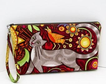 Zipper Pouch, Cat Feline Folk, Wristlet, Zippered Cosmetic Bag with Strap