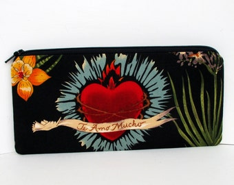 Zippered Pencil Pouch, Frida Heart of Love, Black Zipper Bag