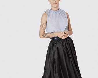 Black silk midi skirt -evening skirt - midi black skirt -full sexy skirt - silk glossy skirt - classic black skirt - party dress