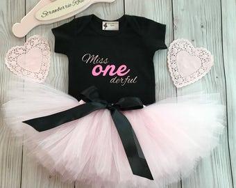 Miss Onederful Birthday Dress | Birthday Tutus for Baby Girls | Baby Tutu Skirt | Pink Black Tutu | Strawberrie Rose | 1st Birthday Tutu