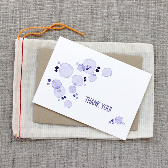 Thank You: Purple Dots Watercolor Notecard Set