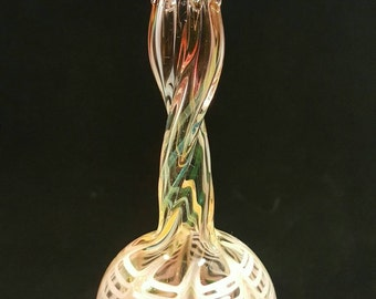 Blown glass ornament..pink and golden lace by Erin Cartee