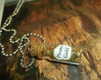 Pirate Gold  / Mini Bottle Necklace