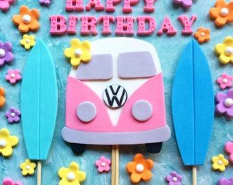 Volkswagen Bus fondant cake set