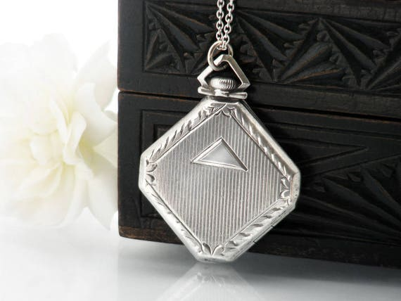 Antique Locket | Sterling Silver Locket Necklace | Art Deco Octagonal Locket | Double Photo Locket - 30 Inch Long Sterling Silver Chain