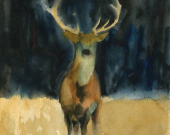 Elk Original watercolor painting 11x14inch