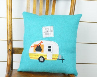 Vintage Camper Pillow Happy Camper Camper Decor Home Decor Camping Pillow  Travel Pillow Throw Pillow Decorative Pillow Handmade.