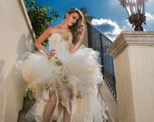 Private listing for Laura RUSH ivory tea stained lace and Tulle High Low with LIGHTS Victorian Bride Halloween dress