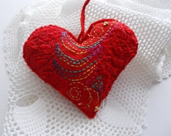 Felt Ornament Red Heart Hanging with Abstract Hand Embroidery Swirls and Crochet Loop One of Kind Handsewn