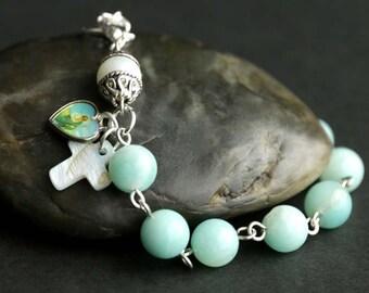 Saint Jude Rosary Bracelet. Catholic Jewelry. Gemstone Chaplet Bracelet in Aqua Green Avenurine. Catholic Bracelet. Handmade Chaplet.
