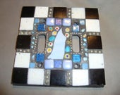 MOSAIC LIGHT SWITCH Plate Cover - Double, Wall Plate, Black, White, Blue