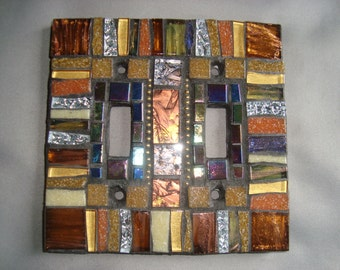 MOSAIC LIGHT SWITCH Plate Cover - Double, Wall Plate, Wall Art, Bronze, Copper, Gold, Silver