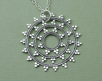 Mandala - Mandala Necklace - Sterling Silver Mandala Jewelry, Yoga Necklace, Zen Jewelry, Hippie Jewelry, Yoga Gifts,