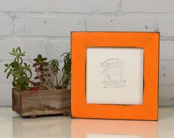 """6x6"""" Picture Frame in 1.5"""" Reclaimed Cedar with Vintage Orange Finish - IN STOCK - Same Day Shipping - 6 x 6 Square Frame"""