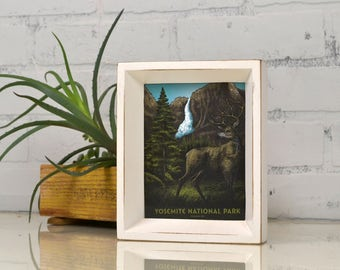 Yosemite National Park Framed Postcard -California Travel Gift Frame - Vintage White Finish Park Slope Style - IN STOCK Same Day Shipping