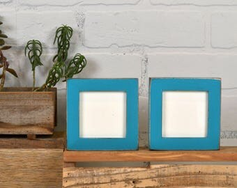 """3x3"""" Square Picture Frame in Peewee style on Oak with Vintage Turquoise Finish - IN STOCK - Same Day Shipping - Modern 3x3 Photo Frame"""