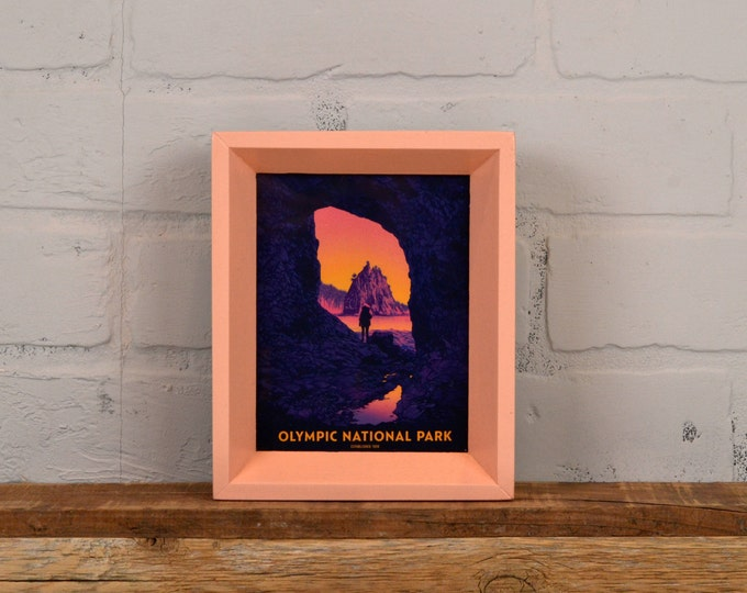 Olympic National Park Framed Postcard - Washington Travel Gift Frame - Solid Coral Finish Park Slope Style - IN STOCK Same Day Shipping