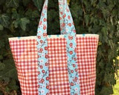 Small retro oilcloth tote bag for children and adults in red gingham