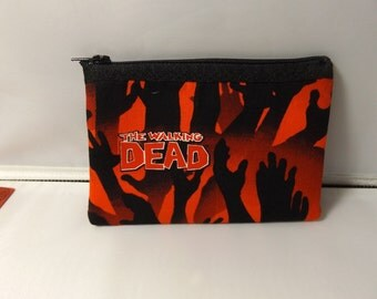 Walking Dead  Fabric Coin Purse / Pouch- Handmade  Zombie