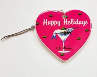 Marlin Martini Holiday Christmas ornament heart shaped porcelain ready to hang