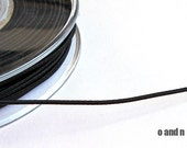 Black silk cord, black satin cord, 1.5mm wrapped silk cord, (4 meters)