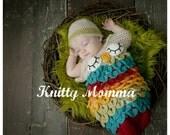 Owl Cocoon Crochet PATTERN - Baby Sack and Hat Set - Sleeping Owl - Newborn Photo Prop - Owl Cocoon - Owl Sack - Sleeping Owl Eyes - Owl Bab