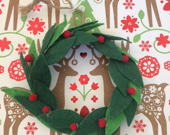 Mini Pom Pom Christmas Wreath, 18 inch doll Decor, Holiday