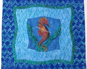 "Tropical SEAHORSE Ocean Waves Sea Grass PILLOW Cover Case~ Artistic Quilt Sashing~ Fits 16"" Pillow"