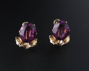 Amethyst Glass Earrings, Purple Earrings, Gold Filled Earrings, Van Dell Earrings, Amethyst Earrings, Leaf Earrings, Purple Glass Earrings