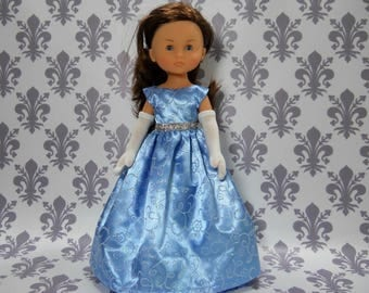 13 inch doll clothes made to fit dolls such as Corolle Les Cheries doll clothes, Blue Fancy Princess Dress, 04-2024
