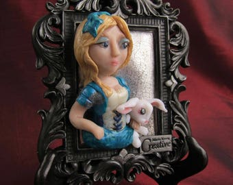 Alice and the White Rabbit Through the Looking Glass. Wonderland Wall Art. Whimsical Alice n Wonderland Sculpture. Storybook Art