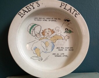 Baby's Plate Vintage Antique Nursery Ware Baby Bowl Dish Whieldon Ware F. Winkle & Co Ltd Children's Nursery Rhyme Theme Jack and Jill