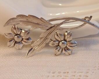 Vintage Sterling Flower Brooch Hallmarked Sterling Brooch WRE Brooch Signed WRE Sterling Jewelry Sterling Brooch