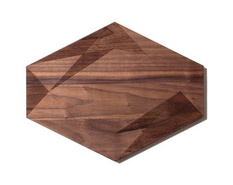 Large Geometric Crystal Shaped Walnut Cutting Boards