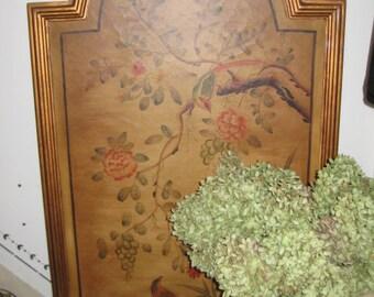 Pair Vintage Oriental/Asian Art/Birds/Trees/FlowersPainted on Wood/ Large Oriental Themed Wall Hangings