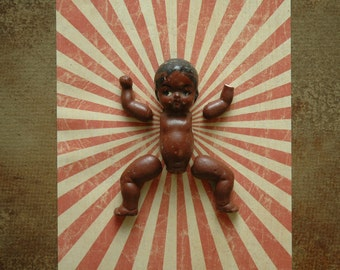 Antique Black Americana Baby Doll Body Parts Repurposed Altered Art  | Red Rising Sun | Rustic Kitsch Macabre Oddity | 3D Wall Art Deco