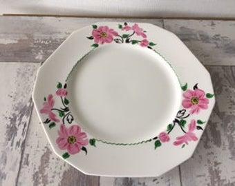 Vintage Alfred Meakin Plate Hand Painted Pink Daisies Flowers Octagon England Tea Pastry Cookies