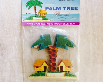 Vintage Palm Tree Beach Hut Island Themed Placecards Honeycomb Tissue Full Pack 6pc