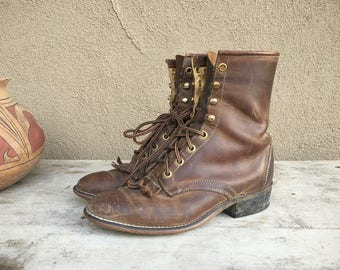 Vintage Women's 7.5 M (run small) brown Packer cowgirl boot, Laredo leather boot, lace-up boot, granny boot, lace-up Packer, steampunk boot