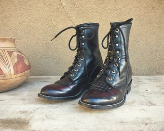 Vintage Women's Size 8 (fit like 7) Packer boots fringe cowgirl boots, kiddie boots, lace up boots, granny boots, ankle boot cowboy boots