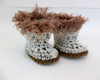 18 inch Doll Clothes  Crochet Aran and Brown Boots to Fit American Girl Doll  Toys