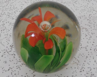 flower...vintage glass paperweight