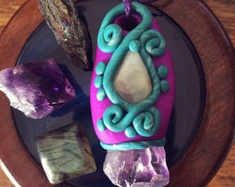 SALE! Amethyst and Prehnite Clay Pendant Necklace