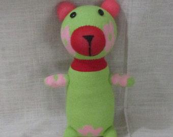 Clearance Handmade Green Sock Bear Stuffed Animal Doll Baby Toys