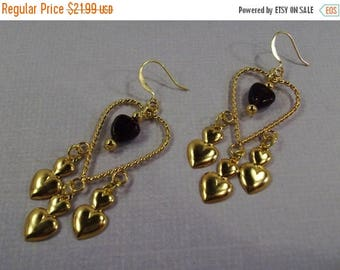 On Sale Twisted Gold Heart with dark red Garnet hearts and gold double heart Earrings
