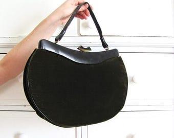 ON SALE Velvet Handbag / 1950s Purse / Dark Green Purse / 50s Purse