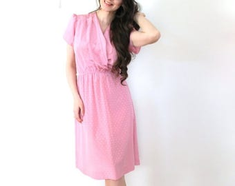 ON SALE Pink 70s Dress / Dusty Rose Pink 1970s Secretary Dress