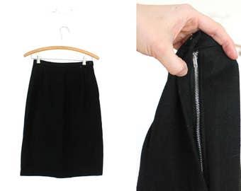 1960s Black Skirt / 60s Black Wool High Waisted Wiggle Skirt
