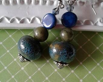 Earth Earrings, Snakeskin Earrings