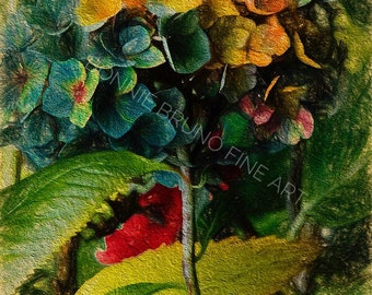 Hydrangeas Photo Art Print, painted photo, home decor, wall art for home or office